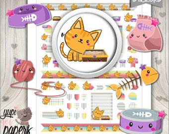 Cat Stickers, Planner Stickers, Printable Planner Stickers, Planner Accessories, Pet Stickers, Kitten Stickers