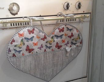 Sale-Copriforno in gray heart with butterflies
