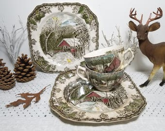 Vintage Johnson Bros. The Friendly Village, The Covered Bridge 2 Square Plates, The Ice House 2 Teacups. Ironstone Made in England Tea for 2