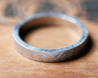 Palladium wedding ring - modern wedding ring - alternative wedding band - rustic textured band - unisex - recycled - custom made to order