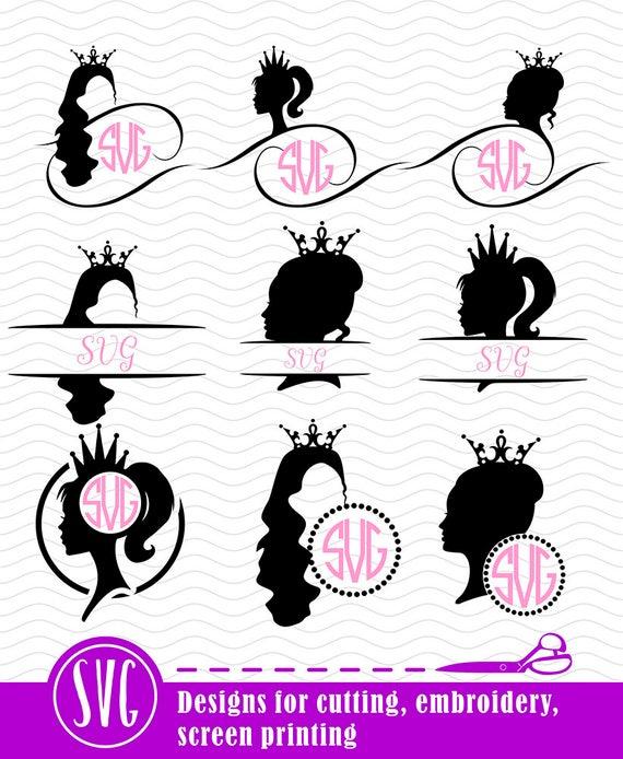 Princess Monogram Svg, Silhouette Princess Cut File, Ai, Eps, Dxf ...