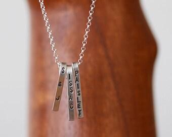 Dangling Trio Sterling Silver Necklace (E0607)