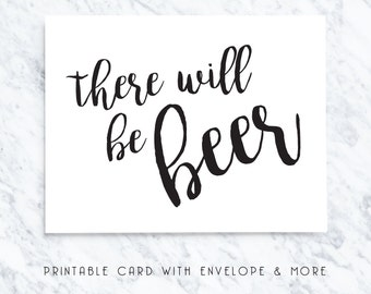 bestman card, bridal party card, there will be beer, printable cards, groomsmen card, digital download, best man card