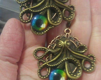 Antique Bronze Octopus; Steampunk Inspired Earrings; SP730