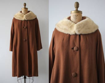 vintage 1960s coat / 60s brown cashmere coat / 60s mink collar coat / 60s winter coat / 60s toffee brown swing coat / large XL plus size