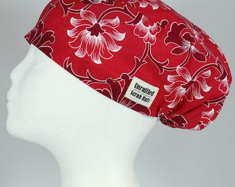Surgical Scrub mini U Hat for Women - Red Blossom