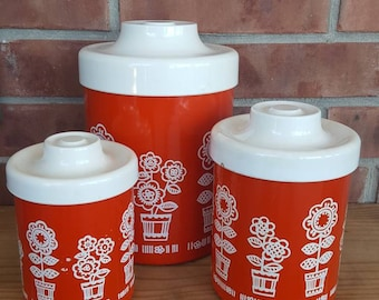 Vintage RED & WHITE ATAPCO Canister Set / Mod Flower Tin Canisters / Retro Kitchen Decor / 70's Nesting Canisters