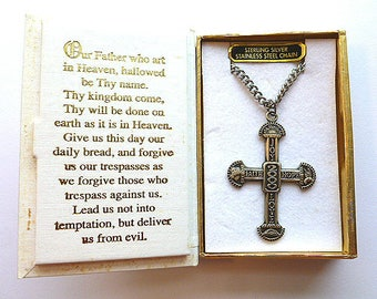 Sterling MILLENNIAL CROSS, Designer Sterling Silver Cross Necklace, Collectors Cross with Stainless Steel Neck Chain, Bible Presentation Box