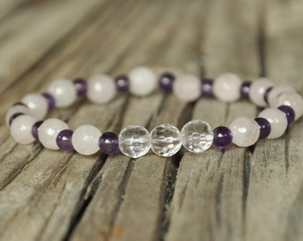 Mala Bracelet, Rose Quartz, Amethyst, Rock Quartz, Crystal Healing, Yoga Bracelet, Prayer, Meditation, Intent Bracelet, Hypoallergenic