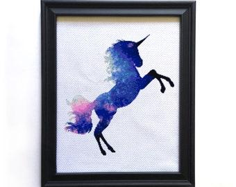 Unicorn Cross Stitch Kit, Galaxy Cross Stitch Kit, Modern xstitch Kit, Fantasy Cross Stitch Kit, Counted Cross Stitch Pattern, Embroidery