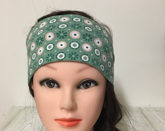 Headband in cotton jersey green with circles 55-62 cm