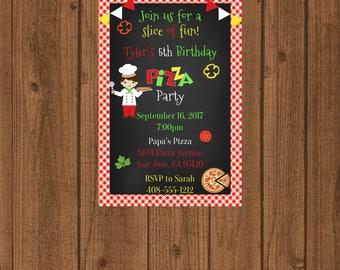 Pizza Party Birthday Invitation, Boys Pizza Party Invitation, Italian Pizza Invitation, Chalkboard Pizza Invitation, Pizza Party