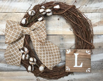 """18"""" Rustic Grapevine Wreath with Removable Monogram Plaque and Burlap Bow"""