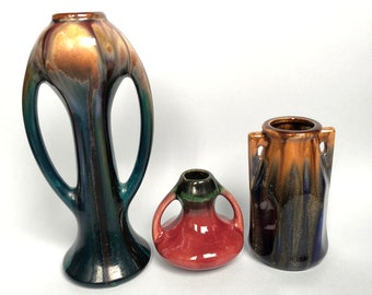 Thulin Art Deco Drip Glaze Vases