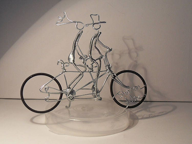 Wire Bicycle Wedding Cake Topper