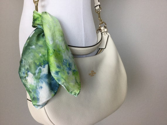 "Purse Scarf, Pocket Silk or Luggage Identifier, 100% Silk, Ice Dyed Green Yellow Blue 16"" Square purse scarves, #203"