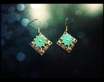 Gold w/Turquoise Flower Earrings