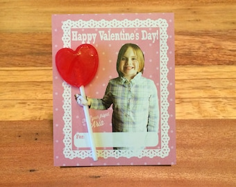 Girls Valentines, DIGITAL, Lace & Hearts, Custom Photo Valentine Cards