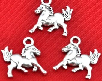 Horse charm---30pcs Antique Silver Horse Charm Pendants---16*19mm-----G493