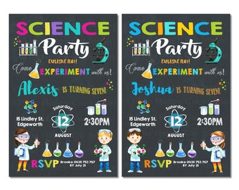 Science Party Invitation, Boy, Girl, Invite, Birthday, Mad, Lab, Laboratory, Chalkboard, Experiment, Scientist, Personalized, Printable