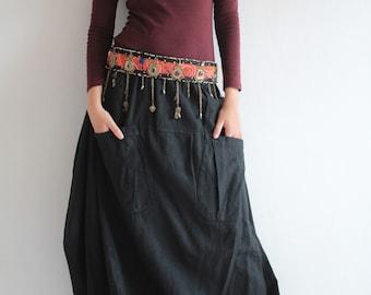 Funky Skirt...Hemp mix cotton Maroon Red M,L