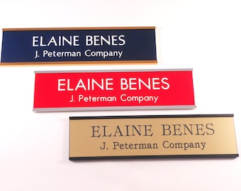 """Wall Name Plate, 2"""" x 8"""", Custom 1 or 2 lines, 20 Color Combinations, 3 Holder Options, Office Wall"""