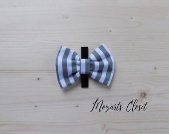Grey Stripe Dog Bow Tie