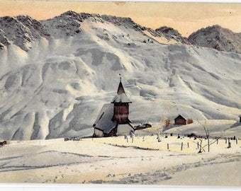 Snow Covered Alpine Church View with Cemetery,  Antique Used 1922 Photochromie Postcard, Nenke & Ostermier, Dresden, Saxony