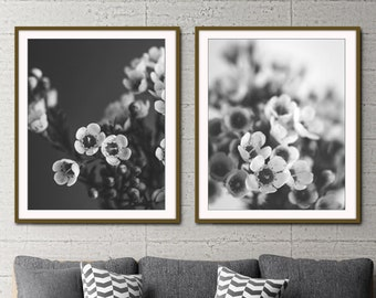 Black and White Floral Wall Art - Set of 2 Prints - Gray Black Wall Art - Set of Two Botanical Prints - Wax Flowers