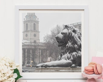 London snow photographic print, Trafalgar Square print, London wall decor, London snow print, London gift, Large wall decor, London