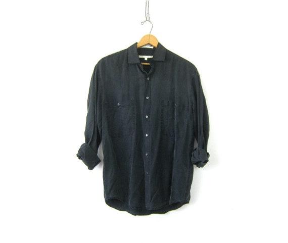 Faded Black Silk Blouse   90s Minimal Button Up   Modern Pocket Shirt Minimalist Silk Oxford Long Sleeve Silk Shirt Men's Size Small