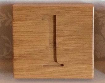 Solid oak bespoke house number sign - one number.