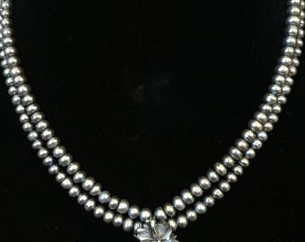 Double-strand Cultured Pearl Necklace with Shell & Sterling Flower Pendant