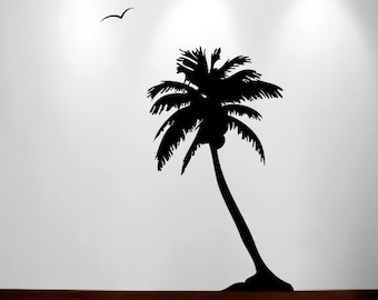 Palm Coconut Tree Wall Decal with seagull birds 1107 (8 feet tall)