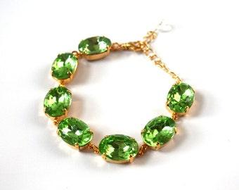 Chunky Peridot Green Bracelet, Georgian Paste Jewelry, Light Green Bracelet, Green Crystal Bracelet, Peridot Rhinestones, Regency jewelry