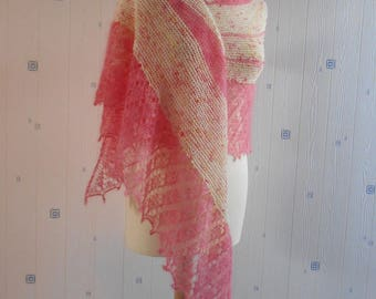 pink and offwhite lace shawl, hand knitted, merino mohair silk