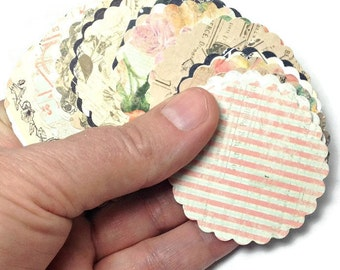 Vintage Gift tags, Scalloped tags, Vintage Tags 50 - 2 inch tags