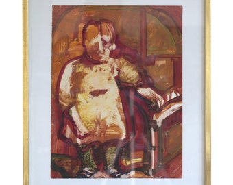 """Carol Wald """"Young Child"""" Gouache on Paper"""
