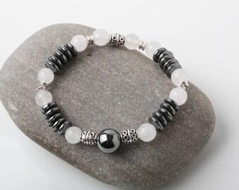 Black Hematite Bracelet, stone bracelet, magnetic bracelet, black stone bracelet, yoga bracelet, meditation bracelet, gift for him