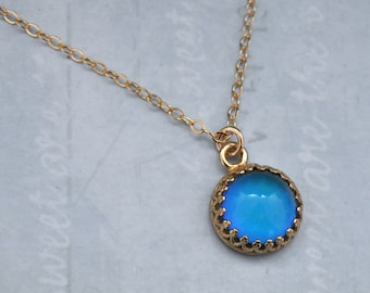 mood stone necklace, MOODSTONE NECKLACE, color changing mood cab necklace with 14k gold filled chain