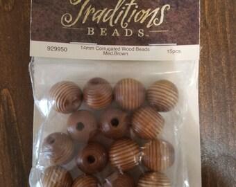 Corrugated Wood Beads - 15 Pcs