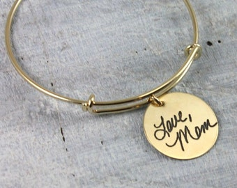 Handwriting Bracelet, Signature Bangle Bracelet, Sterling Silver, Rose Gold, Yellow Gold Layering Bracelet, Remembrance Bracelet, Memorial