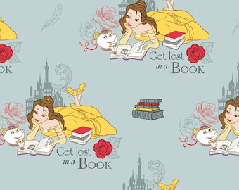 NEW Disney Fabric- Beauty and the Beast Fabric-Lost in a Book in Dusty Blue, Camelot, yard