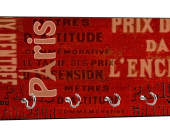 """Vintage Style Parisian Themed Paris Design - 5"""" by 11"""" Key Hanger Household Decoration with Four Hooks"""