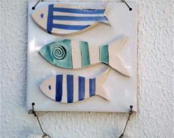 Nautical wall hanging tile, Handmade ceramic fishes, Nautical wall decoration with fishes and shells