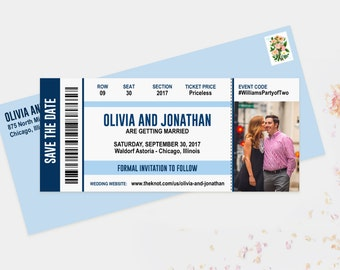 Concert Ticket Save The Date Wedding Announcement Cards Printed Cards OR Printable File