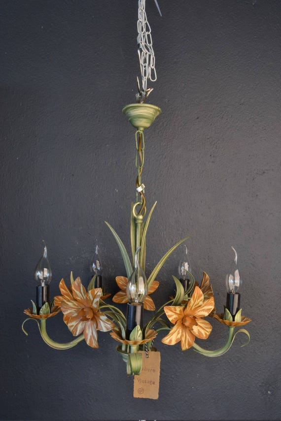 Sold!: Beautiful painted toleware chandelier