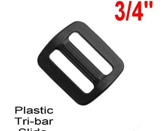 "20 PIECES - 3/4"" - Strap Adjuster, 3-Bar Slide, Heavy Duty Polyacetal Plastic, 19mm, Tri Bar, .75"