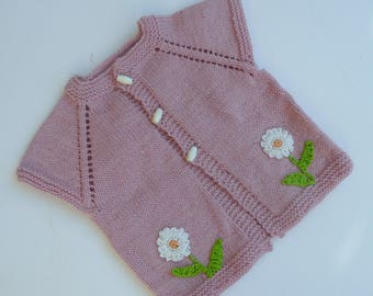 Baby Girls Vest, Age 6-9 Months. Sleeveless Cardigan, Pink Tunic, Ready To Post.