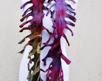 BIG SALE - Beautiful shawl, nuno felted scarf, silk, wool, nuno, felted, gift, fibre art, geen, purple